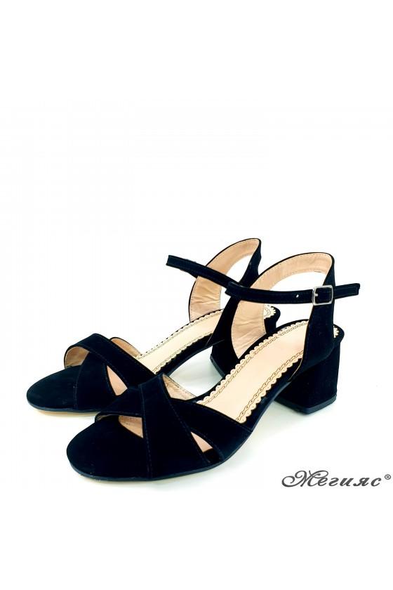 Дамски сандали черни еко набук 0258