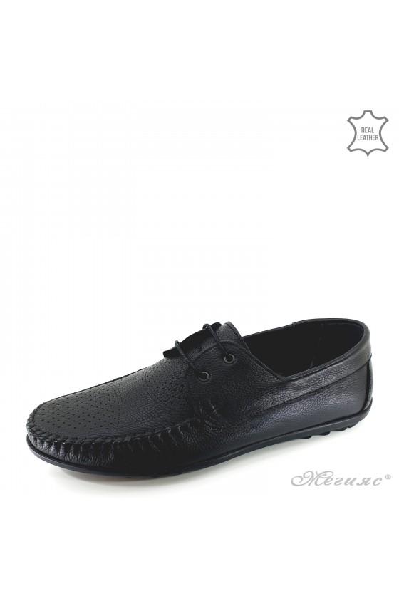 Men shoes black leather 1006