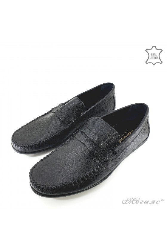 Men shoes black leather 1002