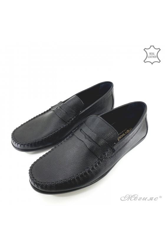 Мъжки обувки XXL от естествена кожа черни 1002