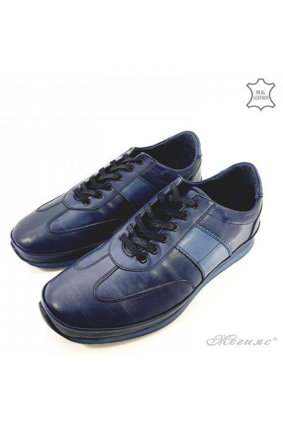 Men shoes blue leather 1003