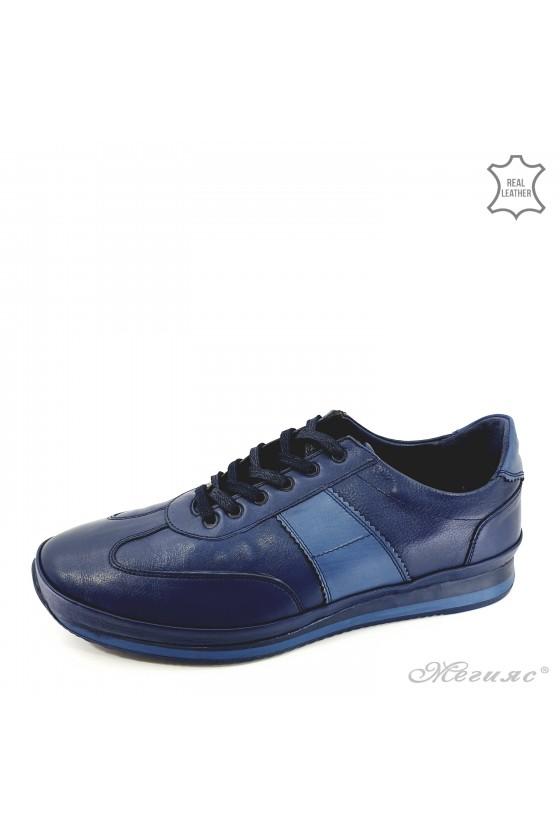 Мъжки обувки XXL от естествена кожа сини 1003