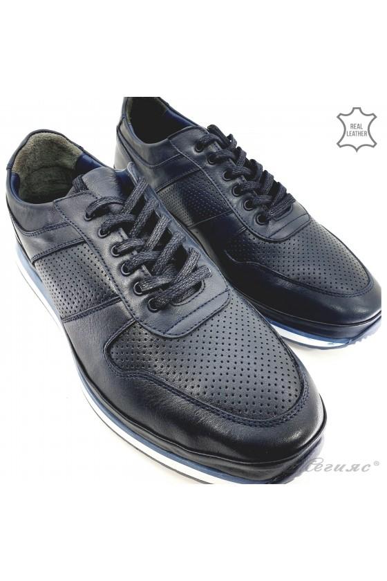 Men shoes blue leather 1028