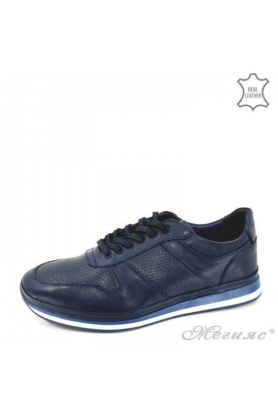 Мъжки обувки XXL от естествена кожа сини 1028