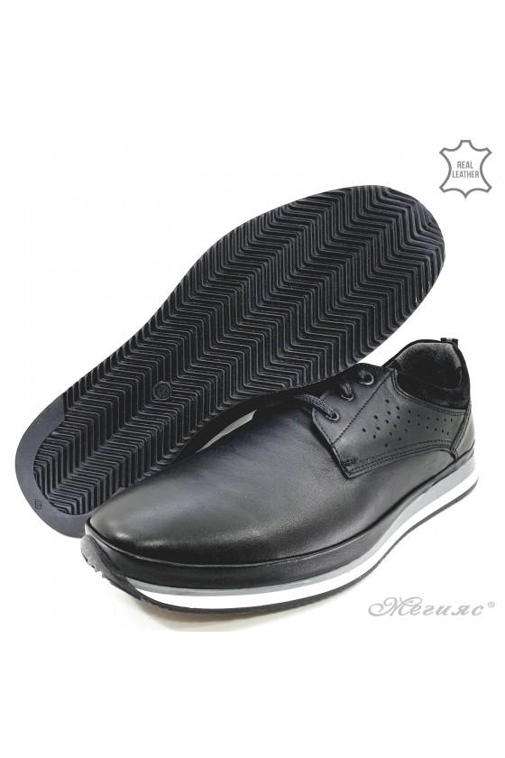 Men shoes XXL black leather 1001