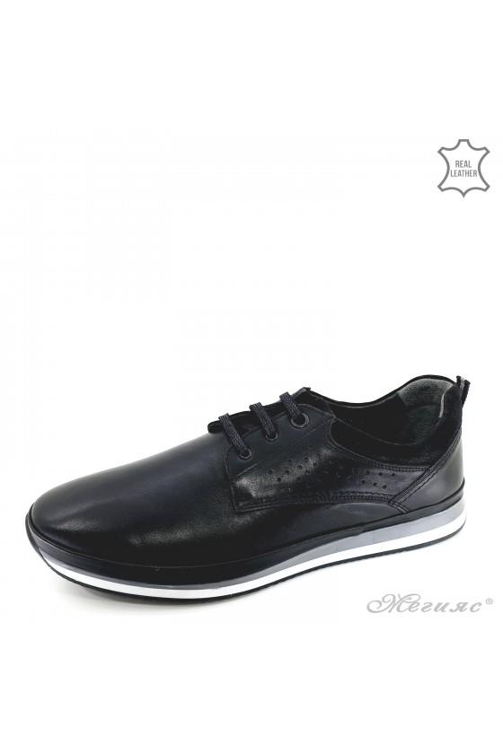 Мъжки обувки XXL от естествена кожа черни 1001