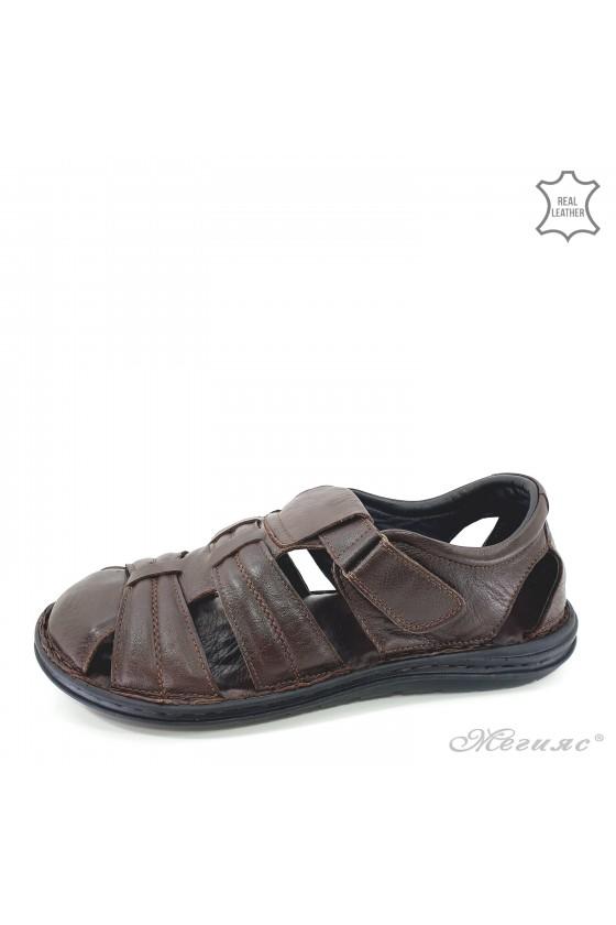 Мъжки сандали XXL от естествена кожа кафяви 202