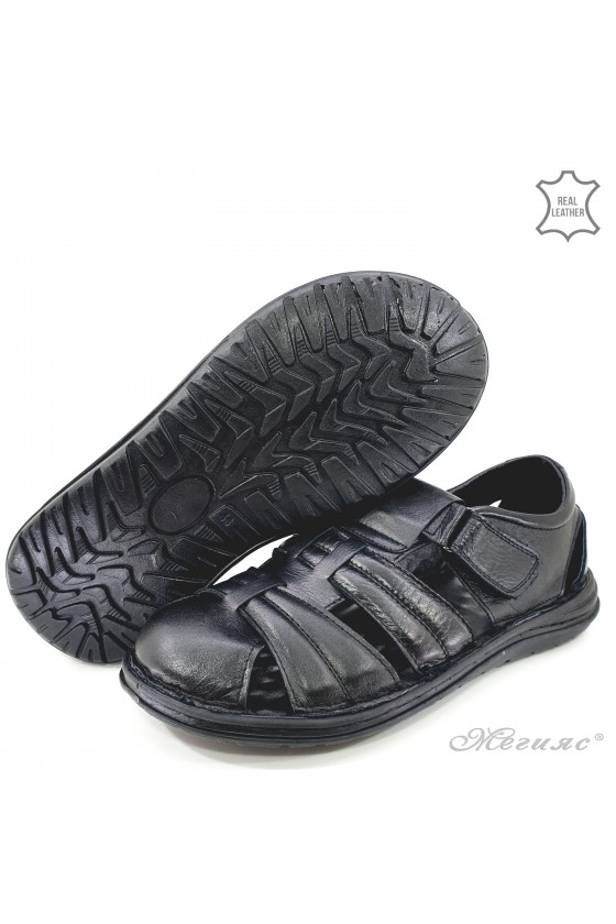 Men sandals black leather 202