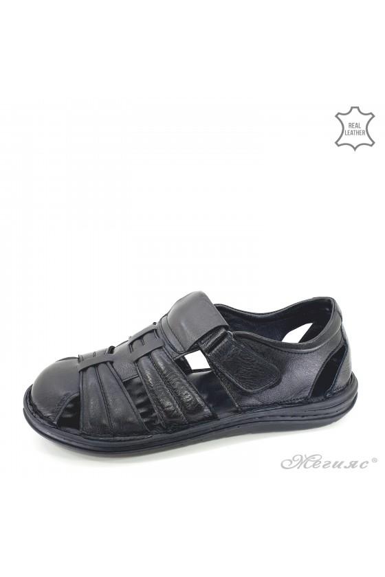 Мъжки сандали XXL от естествена кожа черни 202