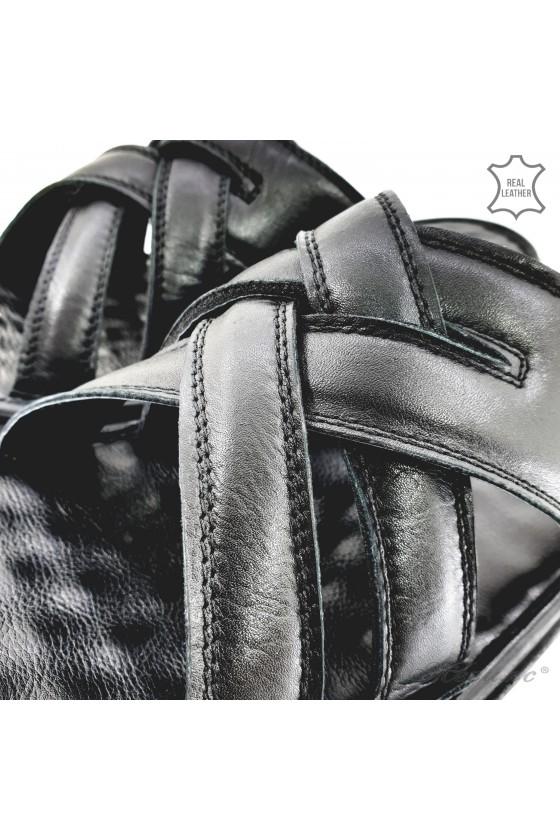 Men slippers black leather 123