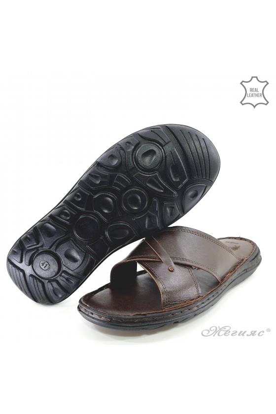 Мъжки чехли от естествена кожа кафяви 02