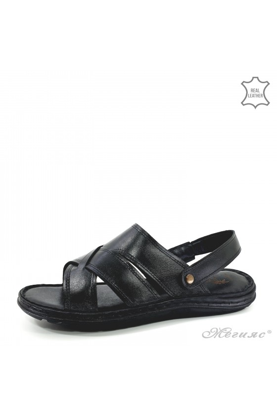 Men sandals black leather 06