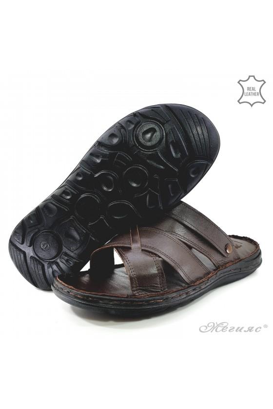Men sandals brown leather 06