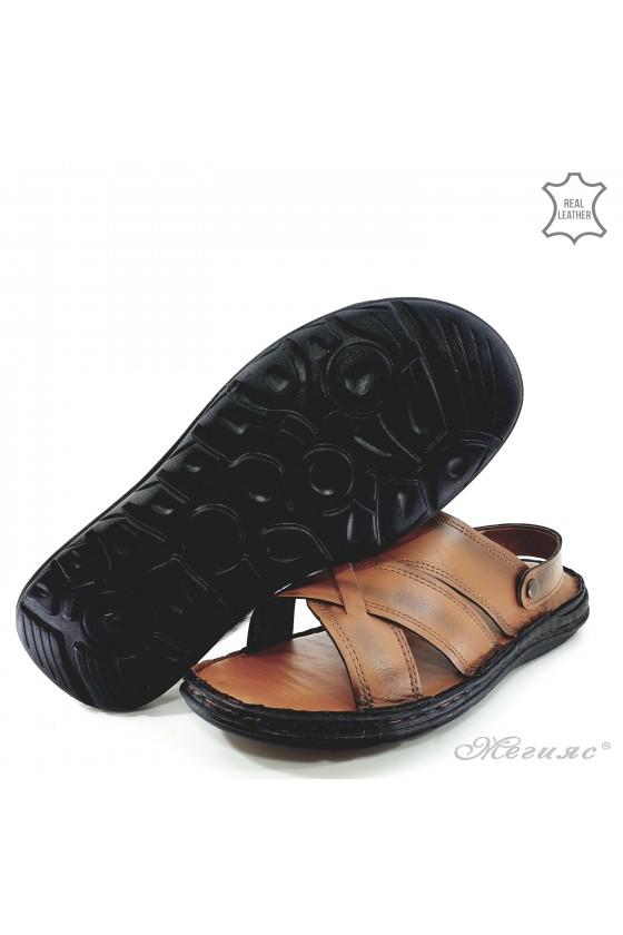 Men sandals lt brown leather 06