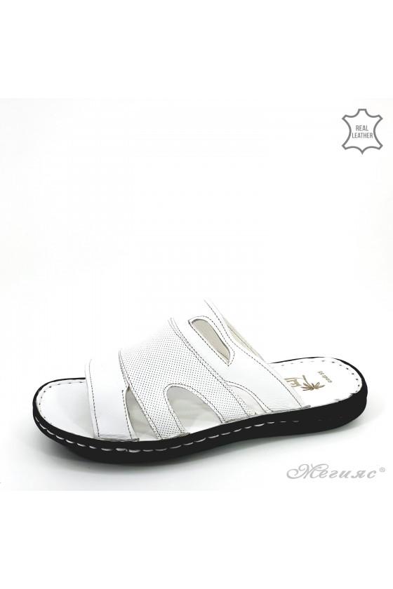 Men slippers white leather 055