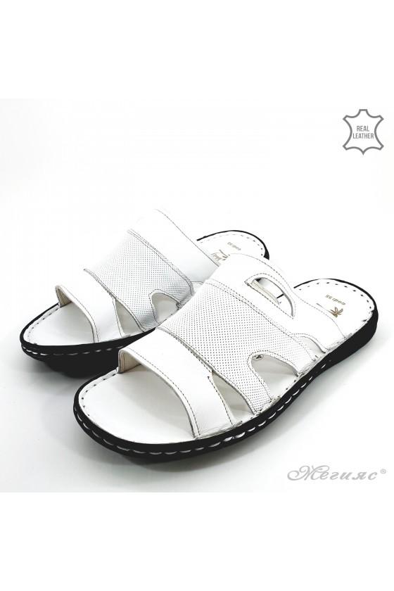 Мъжки чехли от естествена кожа бели 055