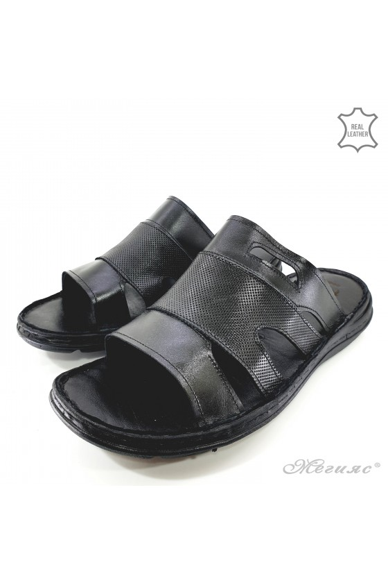Men slippers black leather 055