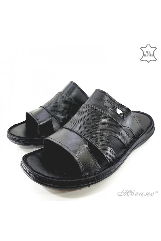 Мъжки чехли от естествена кожа черни 055