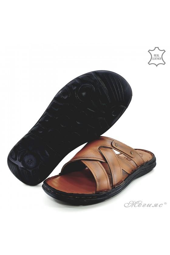 Мъжки чехли от естествена кожа таба 053