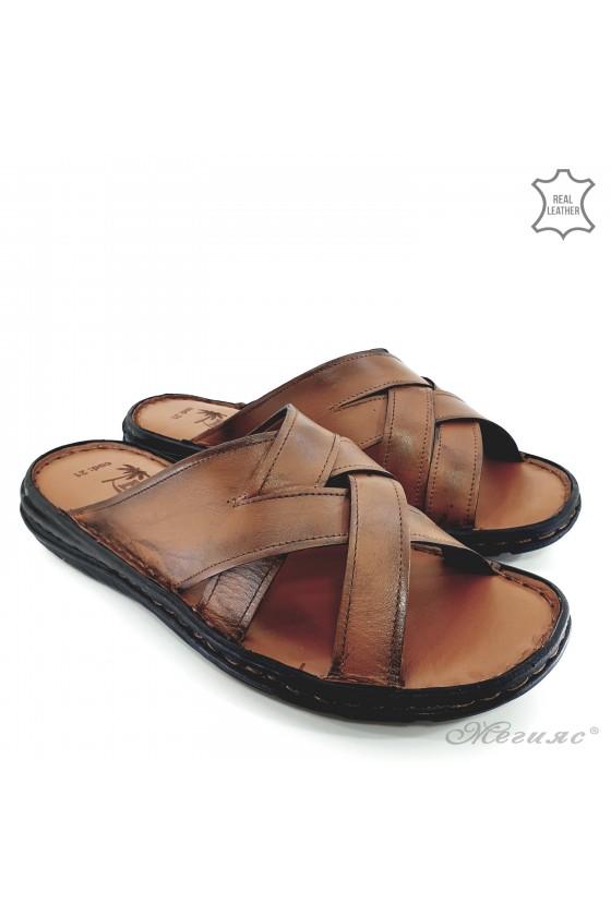 Мъжки чехли от естествена кожа таба 021