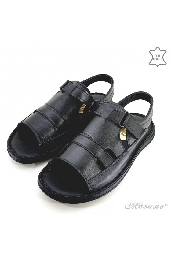 Men sandals black leather 017