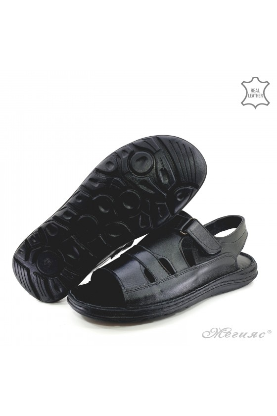 Men sandals XXL black leather 017