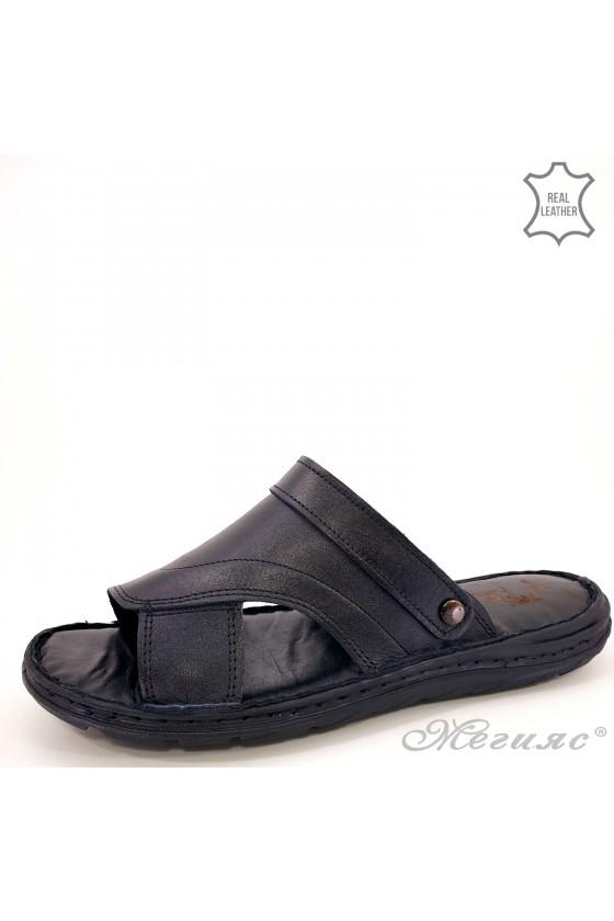 Мъжки сандал/чехъл от естествена кожа черни 08