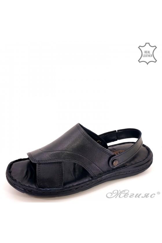 Men sandals lt black leather 06
