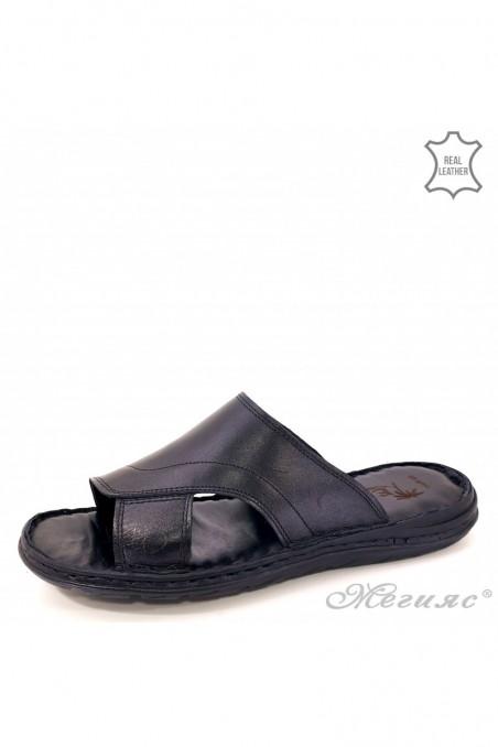 Men slippers black leather 008