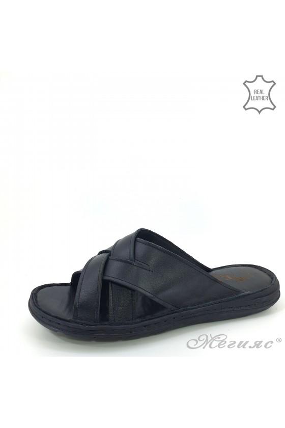 Men slippers black leather 21