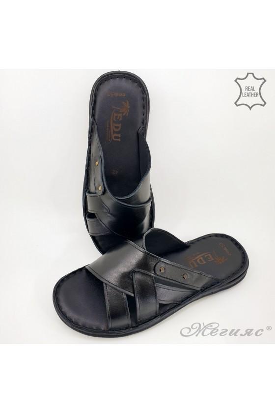 Мъжки чехли от естествена кожа черни 053