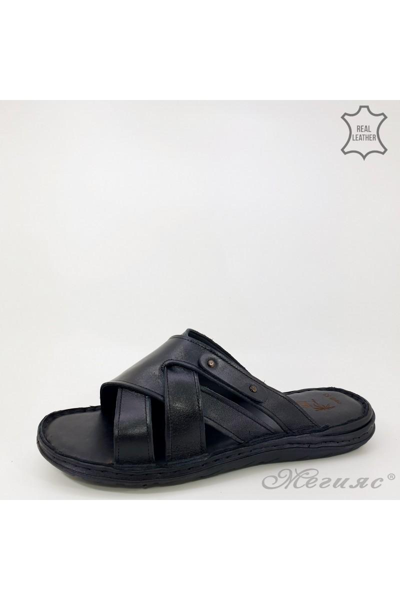 Men slippers black leather 053