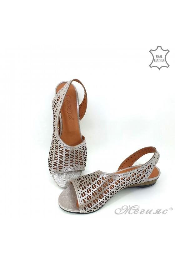 Дамски сандали естествена кожа светло сиви 513