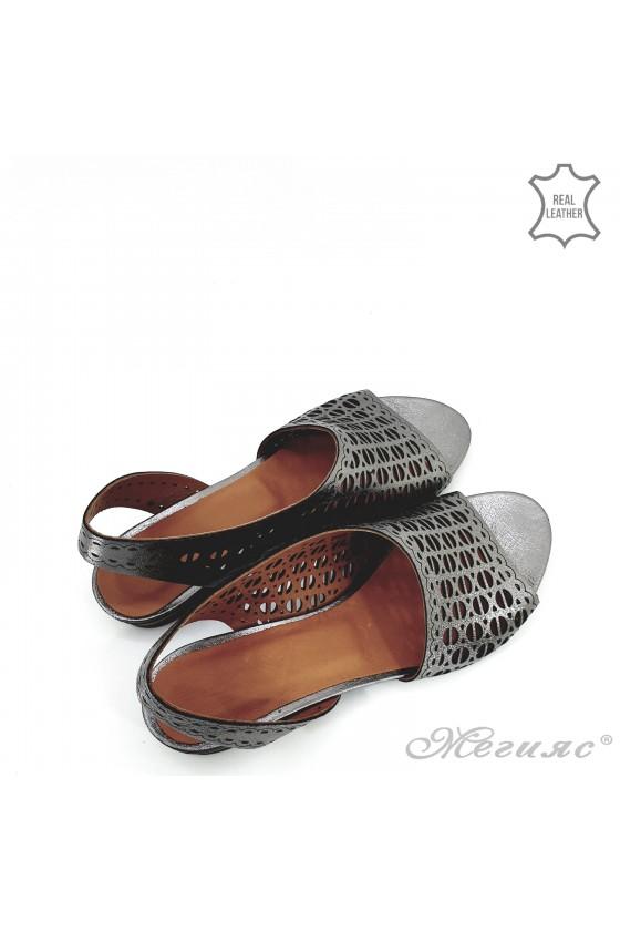 Дамски сандали естествена кожа графит 513