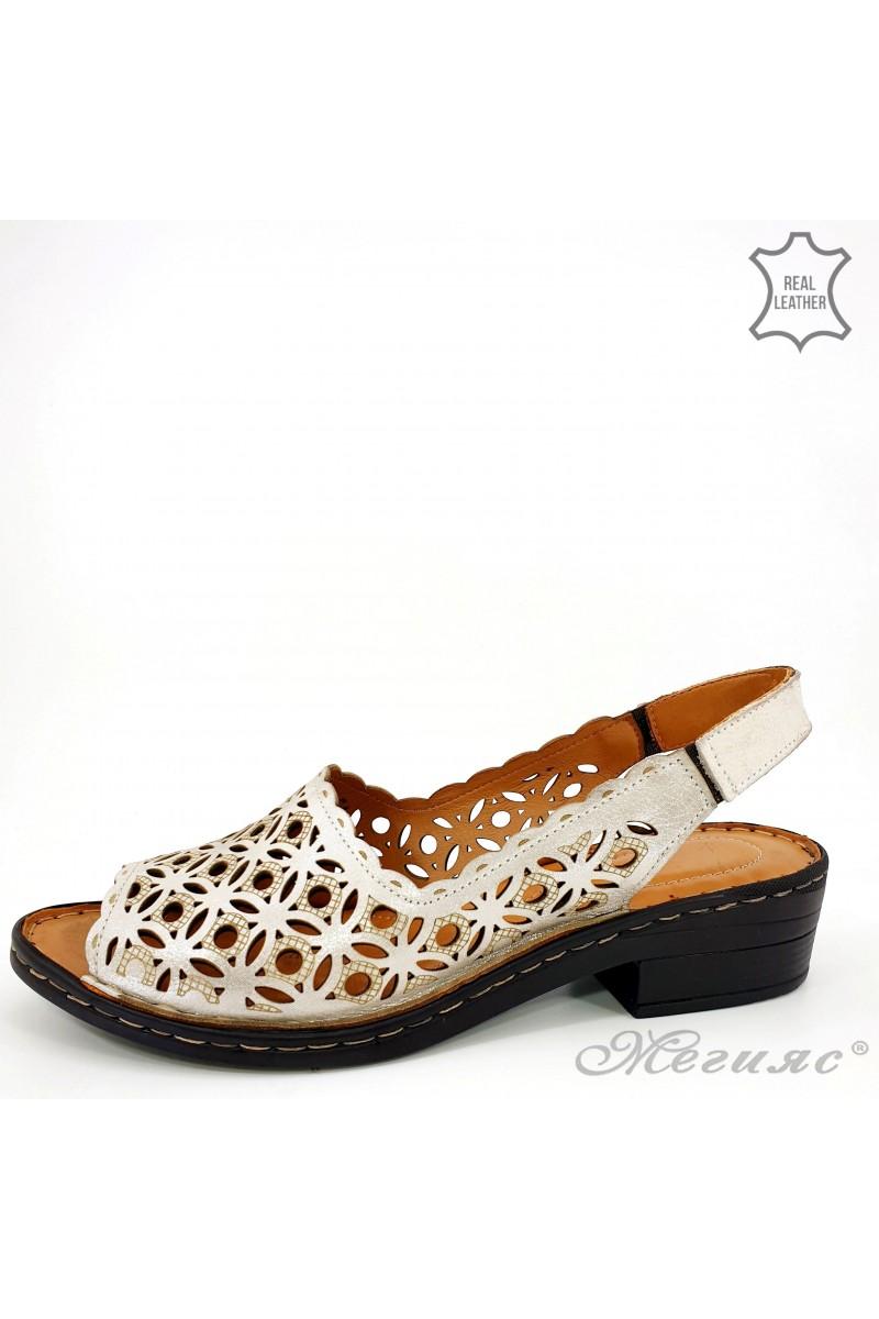 Дамски сандали естествена кожа сиви 4024-160