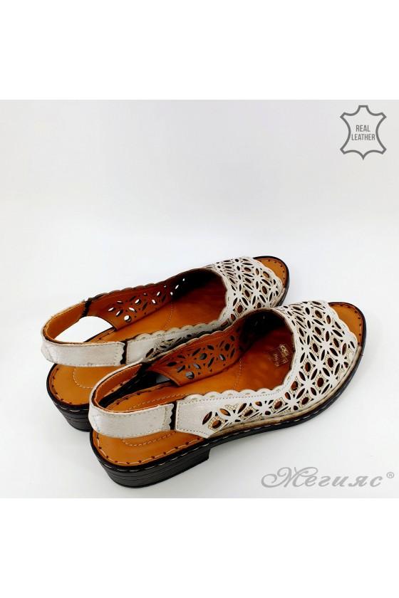 Дамски сандали XXL естествена кожа сиви 4024-160