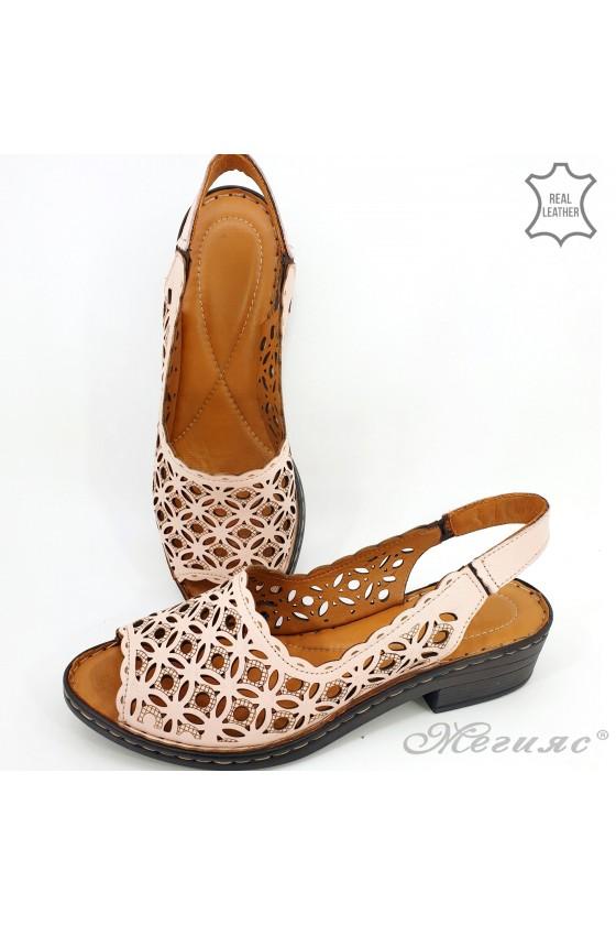 Дамски сандали XXL естествена кожа пудра 4024-09