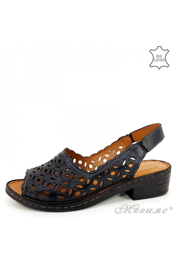 Дамски сандали XXL естествена кожа  черни 4024-01