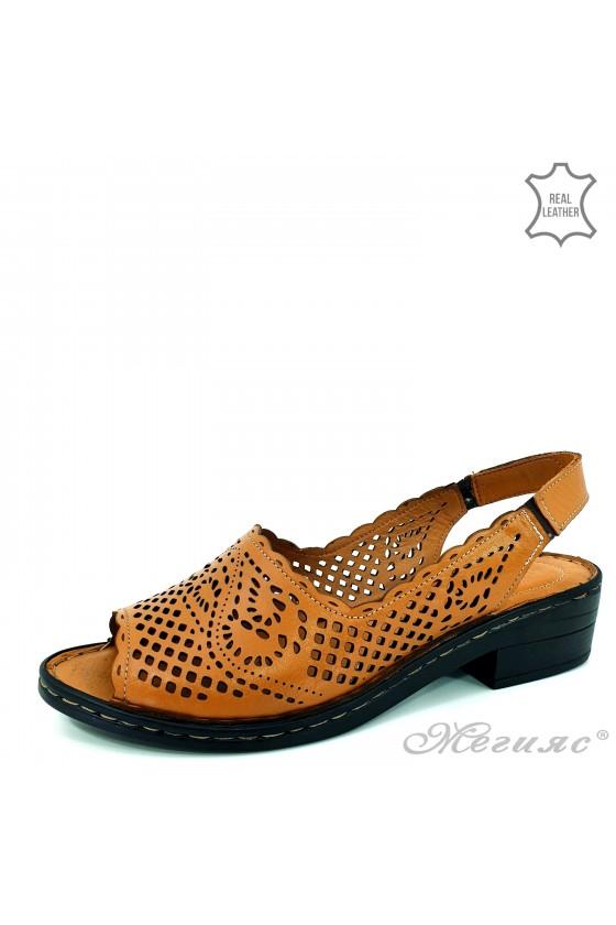 Дамски сандали XXL естествена кожа кафяви 4023-04