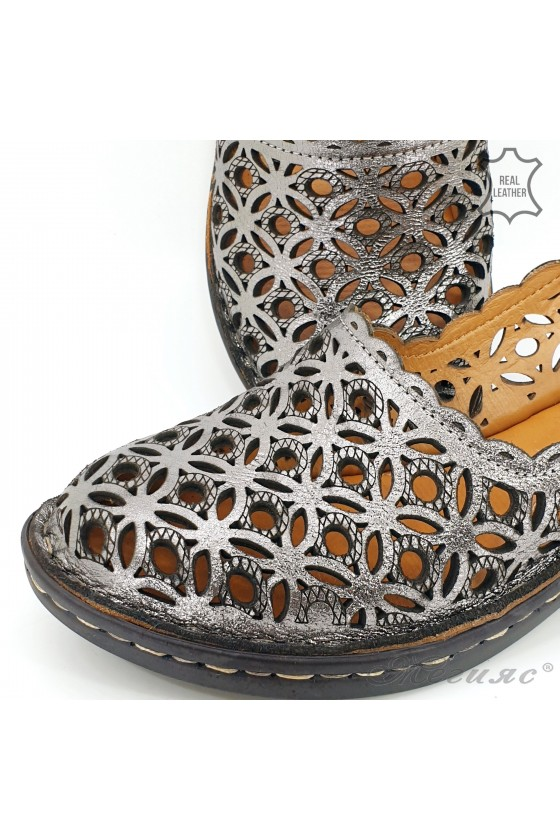 Lady sandals grey leather 2021-24