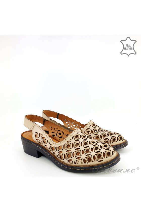 Дамски сандали от естествена кожа бежови 4021-03