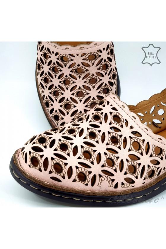 Дамски сандали от естествена кожа пудра 4021-09