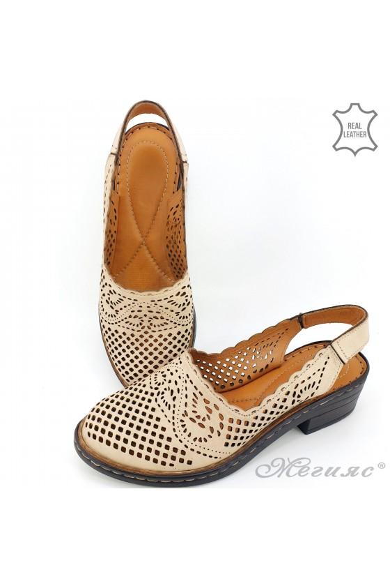 Дамски сандали от естествена кожа бежови 4019-03