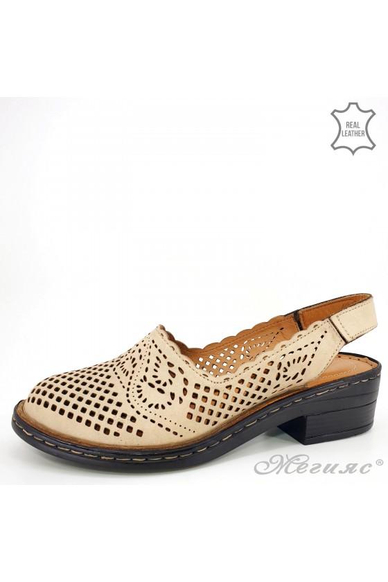 Дамски сандали от естествена кожа пудра 4019-09