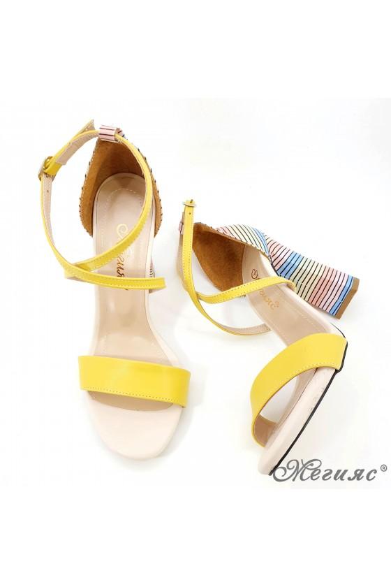Дамски сандали елегантни жълти 107
