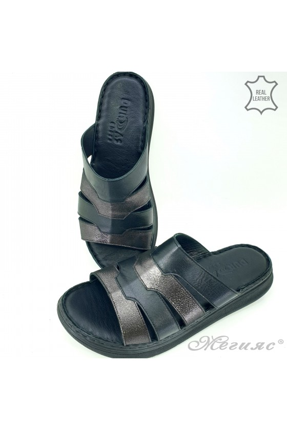 Дамски чехли естествена кожа черни 10-K