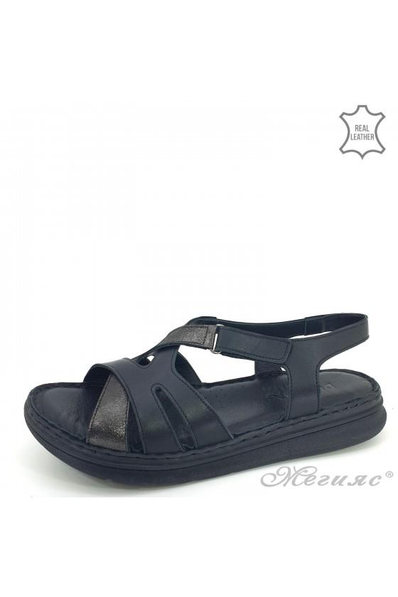 Дамски сандали естествена кожа черни 113-K