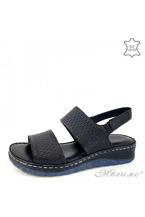 Дамски сандали естествена кожа черни 239