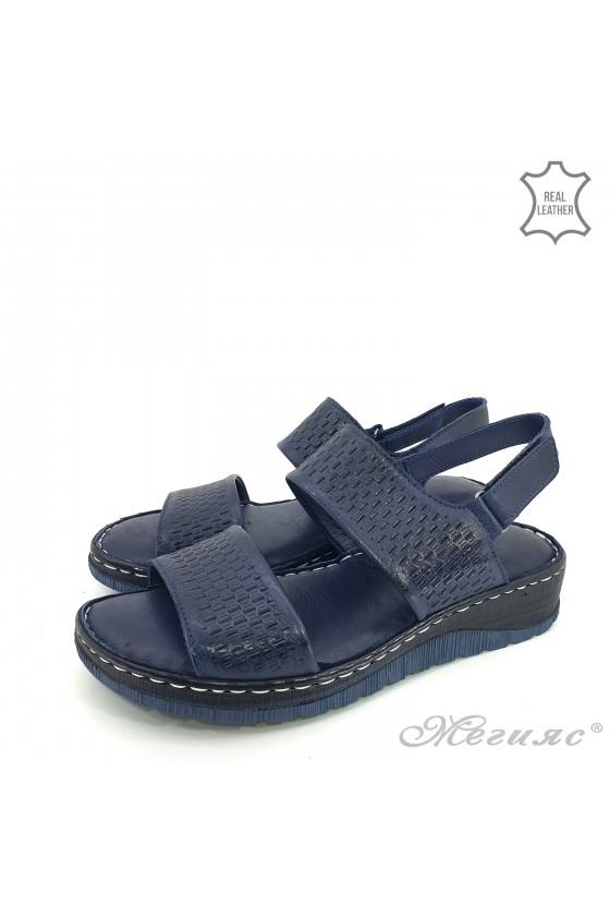 Дамски сандали естествена кожа сини 239