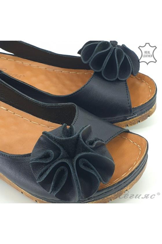 Дамски сандали XXL на платформа естествена кожа черни 1088